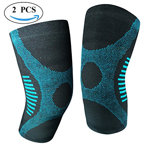 JforU Athletics Knee Brace Compression Sleeve Support – 1 Pair for Running, Jogging, Basketball, Sports activities, Joint Pain Aid, Arthritis and Injury Recovery – DiZiSports Store