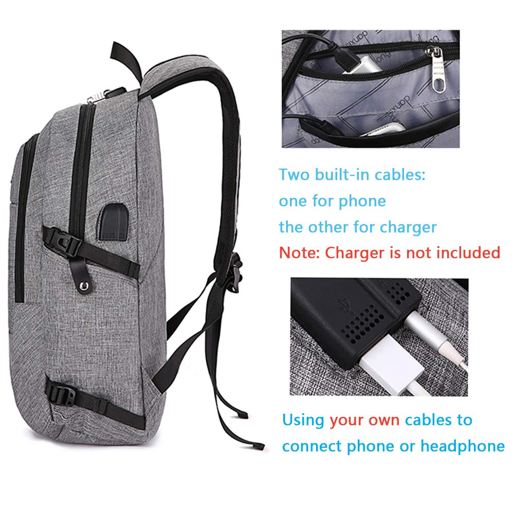 Lmeison Business Laptop Backpack, Anti Theft Travel Backpack with USB Charging Port & Headphone Interface for Women Men, Water Resistant Daypack Fits Under 15.6 Inch Laptop Notebook (Grey) by Lmeison (Image #4)