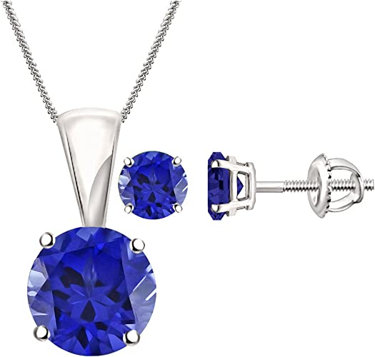 925 Sterling Silver Sapphire Solitaire Pendant Necklace Earrings Set