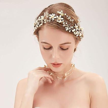 Soleebee Gioielli da sposa con perline artificiali di perle di Cerchietti e  Collana con cristalli c43918f6d4a1