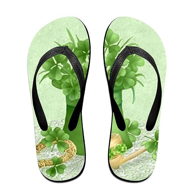 8f2eaea90991 Amazon.com  Unisex Flip Flops Sandy Flat Thong Sandals Clover In Green Hat  Slipper Top  Clothing