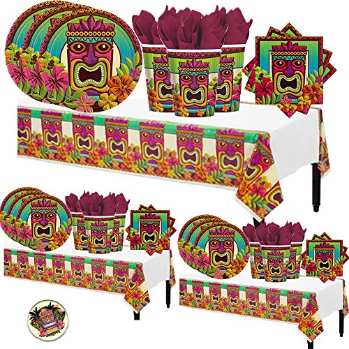 Tiki Plates - Tiki Tropical Luau Hawaiian Summer MEGA Deluxe 238 Piece Party Supply Pack for at least 50 Includes 60 Plates, 125 Napkins, 50 Cups, and 3 Tablecovers!
