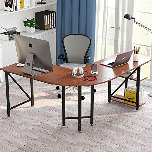 """Large L-Shaped Desk, Little Tree 67"""" Modern Corner Computer Desk Study Workstation Gaming Table with Shelves for Home Office, Wood & Metal, (Left Computer L-desk)"""