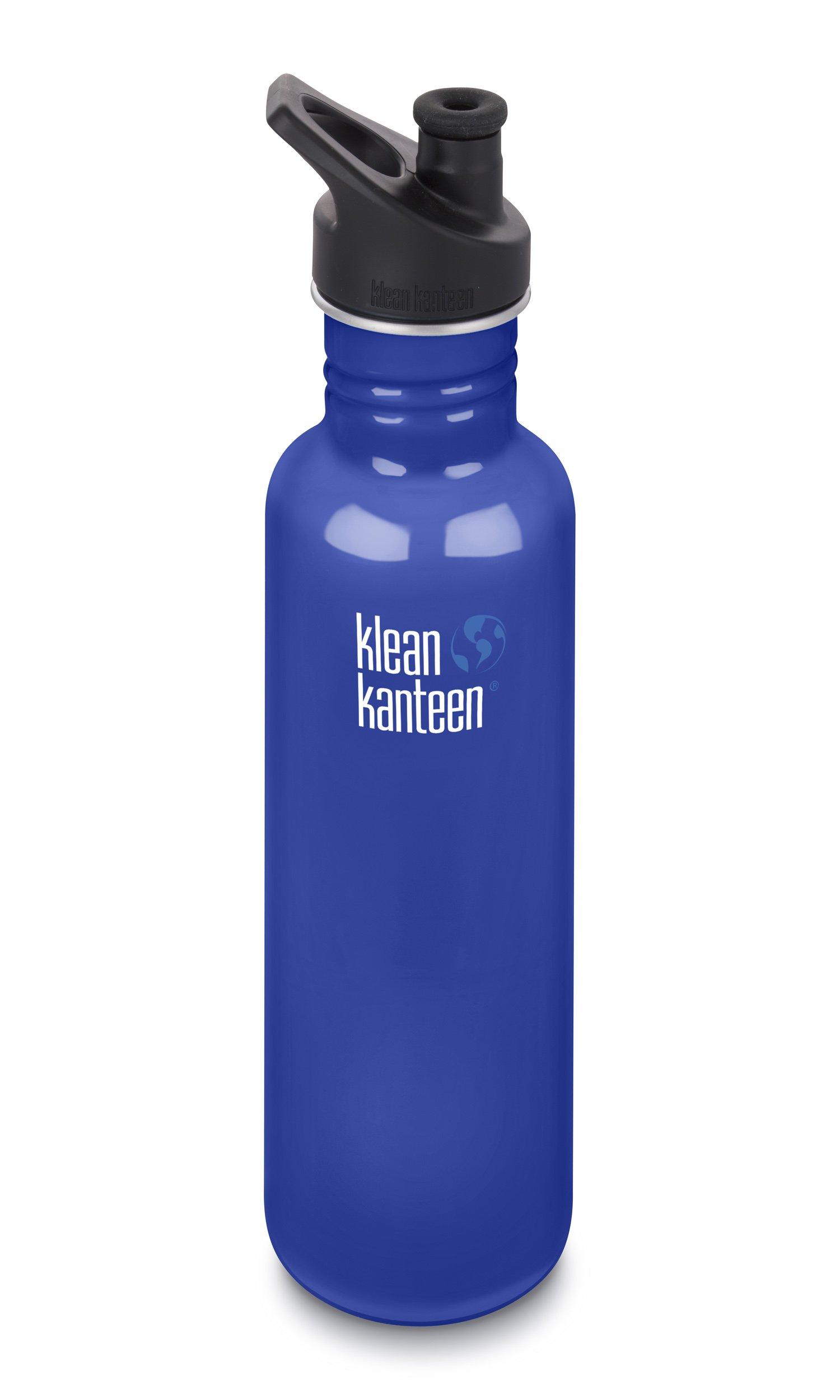 Klean Kanteen 27oz Classic Stainless Steel Water Bottle with Klean Coat, Single Wall and Leak Resistant Sport Cap 3.0 - Coastal Waters