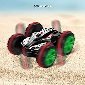 Blexy RC Car Boat 4WD 6CH Stunt Car 2.4Ghz Remote Control Land & Water Amphibious Tank Double Sided Off Road Electric Racing Vehicle 360 Degree Spins and Flips