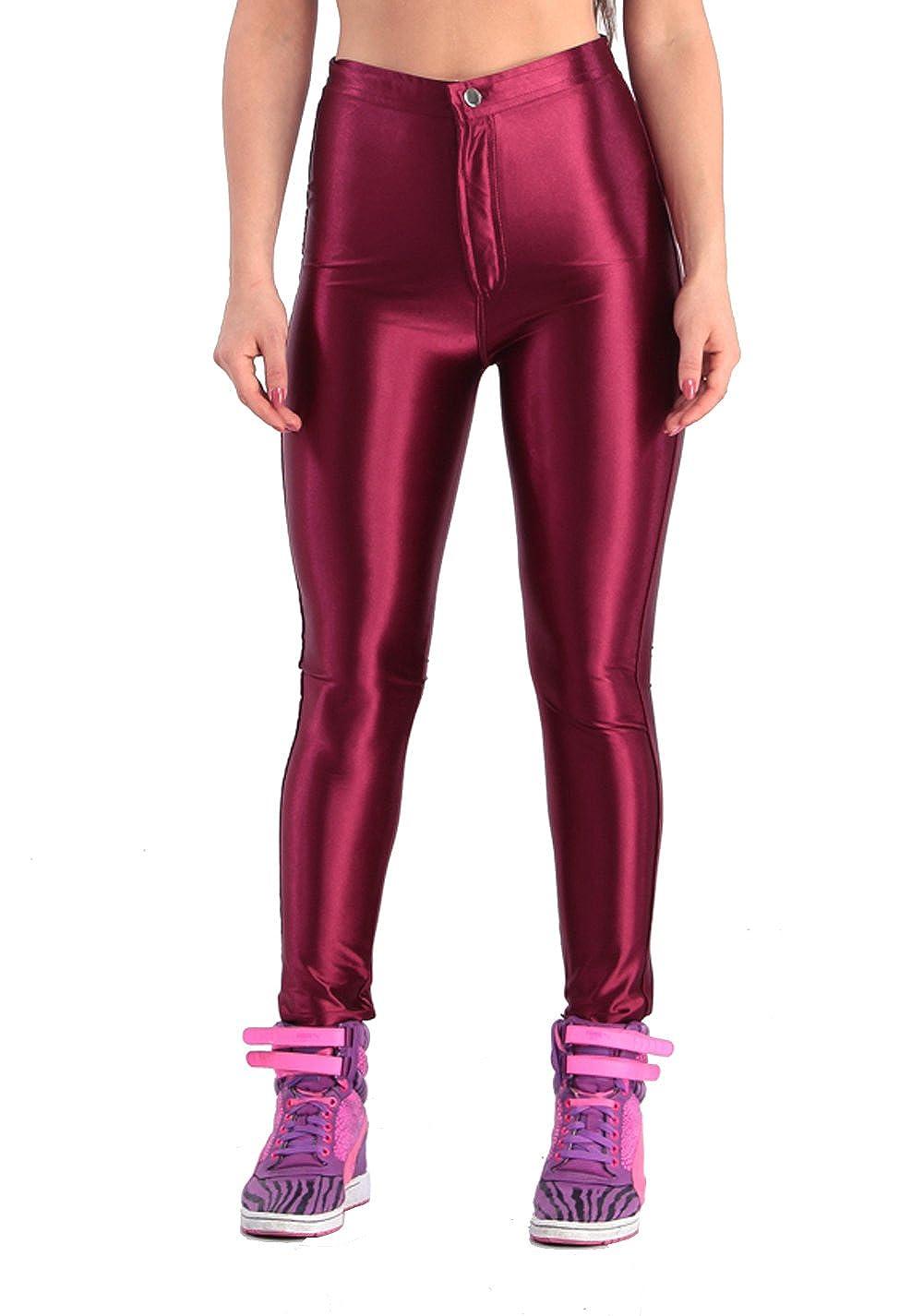 Wine Red Yomsong Women's High Waist Shiny Satin Neon Disco Pants