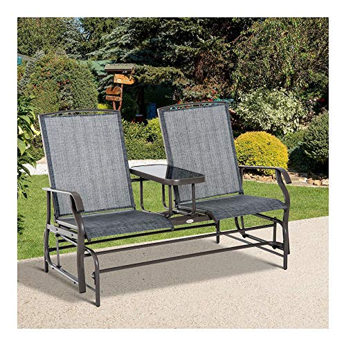 (2 Seater Patio Glider Rocking Chair Metal Swing Bench Furniture Table)