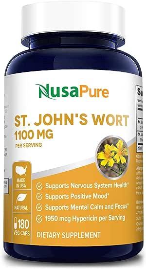 St. John's Wort 1100mg 180 Veggie Capsules (Non-GMO & Gluten Free) 1950mcg Hypericin Saint Johns Wort for Mood, Anxiety & Depression Support (550mg per Capsule)