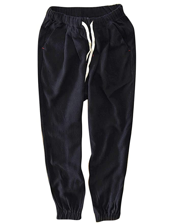Yeokou Mens Casual Loose Solid Elastic Waist Cropped Joggers Linen Pants