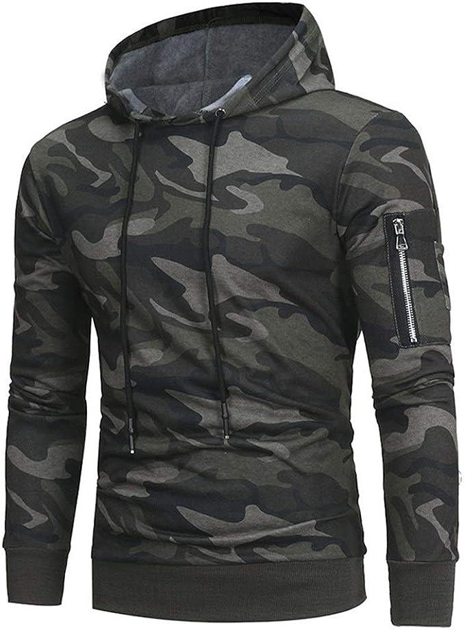 OPPUKI Mens Pullover Hoodie Sweatshirt Fashion Mens Hooded Sweatshirt Solid Color Pullover HDM010