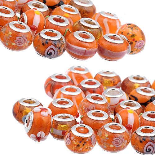 (RUBYCA Mix Orange Murano Lampwork Glass Bead Rondelle European Charm Bracelet Silver Color)