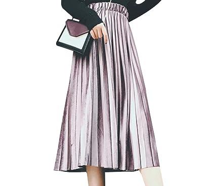 Falda Mujer Larga Vintage Retro Terciopelo Plisada Faldas Moracho ...