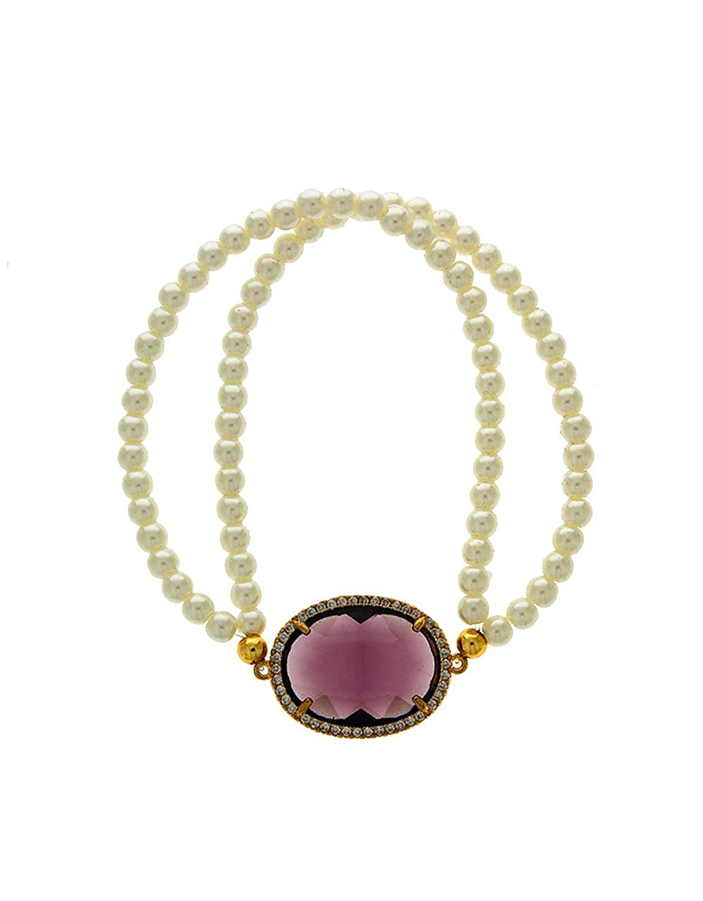 Anuradha Art Purple Colour Styled with Woven Pearl Beads Classy Hand Bracelet//Kada for Women//Girls