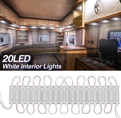 20x3LEDs Kit de Luz Interior lámpara de Módulo Auto LED iluminación Luces Interiores del Coche 12V Blancos para Camper Van Caravana Camión Barcos Transit. (C-Type): Amazon.es: Coche y moto