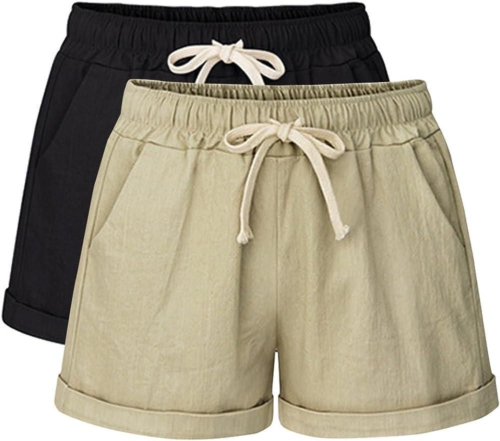 accento riposo Wafer  Amazon.com: Sobrisah Women's Summer Drawstring Elastic Waist Casual Comfy  Cotton Linen Beach Shorts with Pockets: Clothing