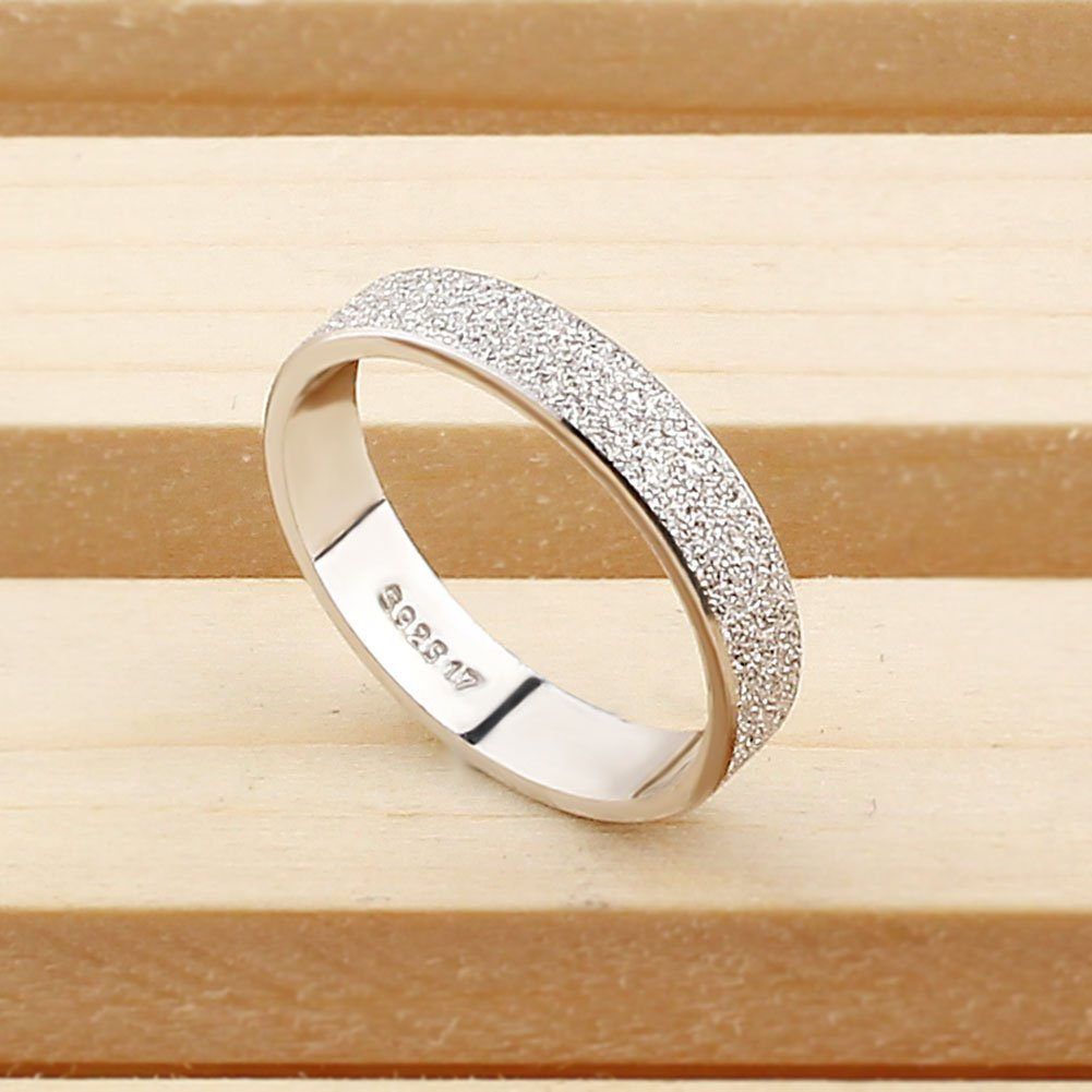 weeno dama anillo de plata de ley 925 para hombre de pantalla mate para Boda Band/aniversario/compromiso: Amazon.es: Joyería