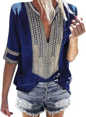 Minetom Camiseta Básica Mujer Vintage Bohemio Blusa Manga Corta Cuello en V Estampado Blusas de Fiesta Oficina Playa Vacaciones Verano Boho T-Shirt Tops: Amazon.es: Ropa y accesorios