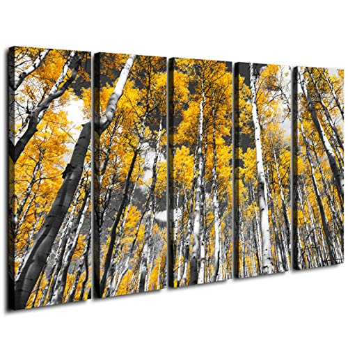 Large Wall Art Yellow Forest Trees Canvas Prints Black and White Oil Paintings Decor Frame Printing Natural Scenery Landscape Modern Artwork Painting for Office Home Decorations 5 Panel 60 Inch Total