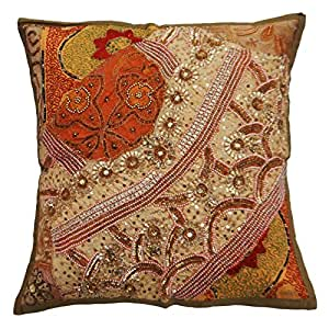 """Home Décor Beaded Patchwork Cushion Cover 40 Cm Ethnic Cotton Pillow Case Throw India 16""""X 16"""""""