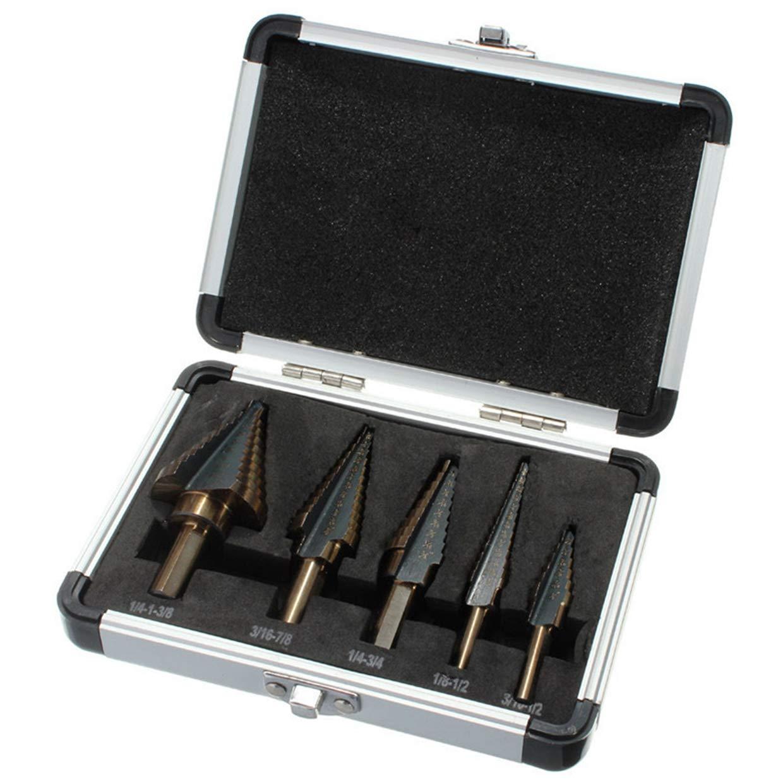 HOEN 5Pcs HSS Cobalt Multiple Hole 50 Sizes Step Drill Bit Set Tools with Aluminum Case