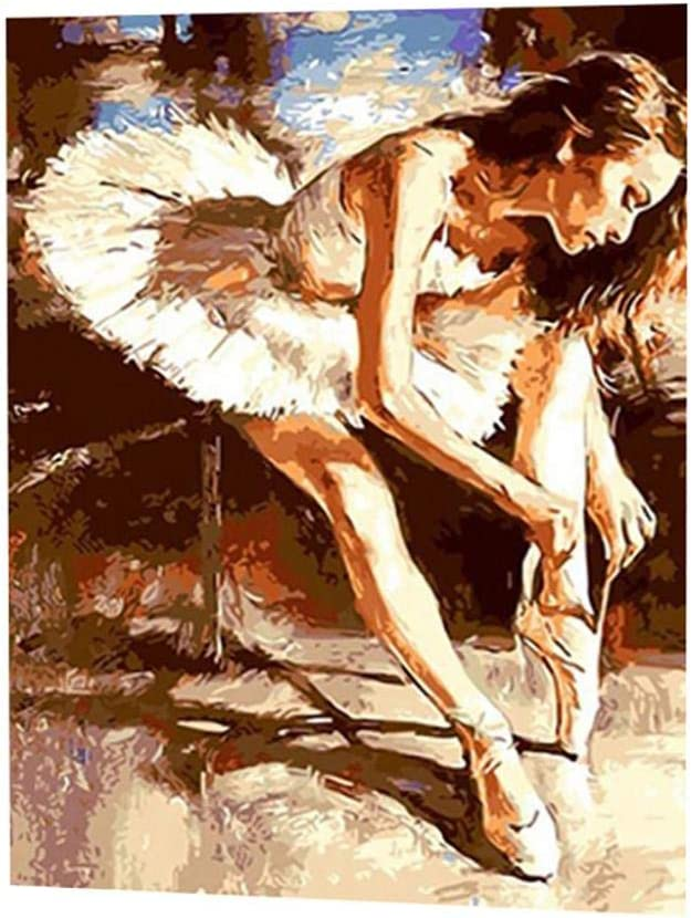 bismarckber Ballet Dancer DIY Oil Painting Paint by Number Kit Wall Art Craft Home Office Decorations