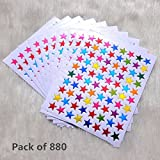 Pack of 800 Gold Silver Red Multicolor Star Stickers