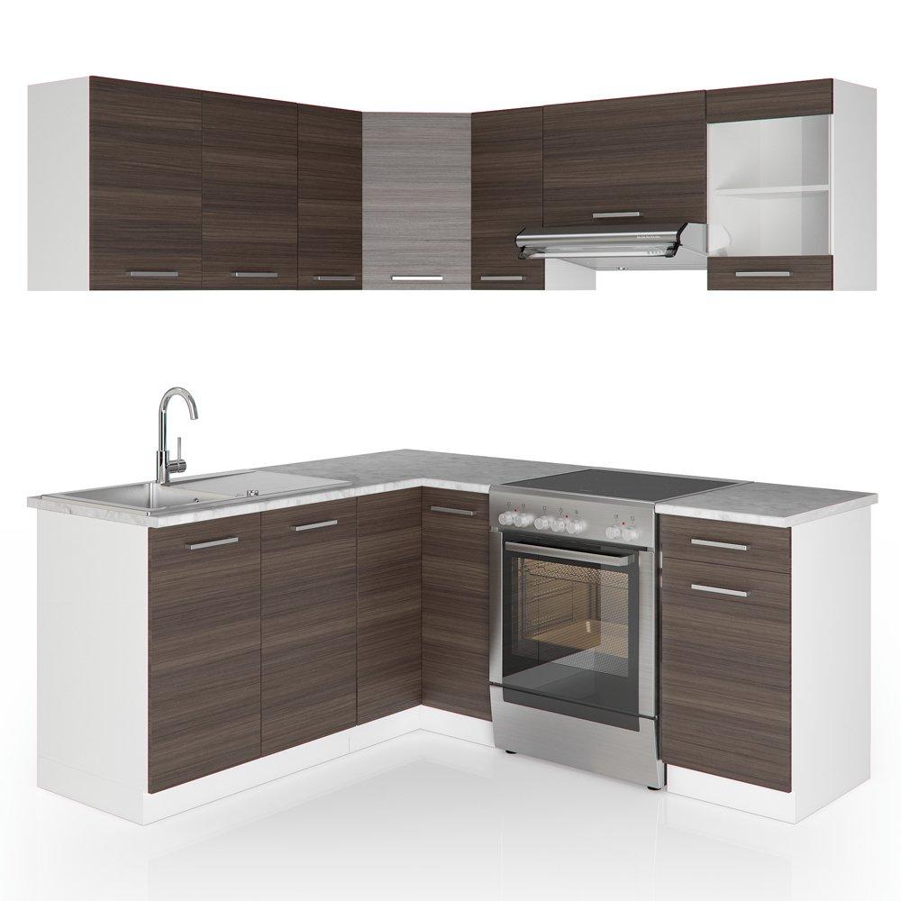 VICCO Winkelküche Küchenzeile 190 x 170 cm - Weiß Hochglanz ... | {Einbauküchen l form 22}