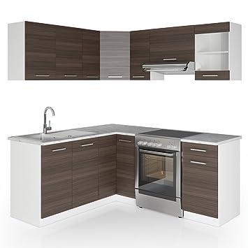 Vicco Winkelküche Küchenzeile 190 X 170 Cm Weiß Hochglanz
