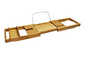 Purica Wooden Bath Caddy - Luxury Bathtub Caddy Tray with Accessory Holders  for Book, Candle