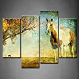 First Wall Art- 4 Panel Wall Art Brown White Horse Tree In Autumn Painting The Picture Print On Canvas Animal Pictures For Home Decor Decoration Gift piece (Stretched By Wooden Frame,Ready To Hang)