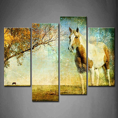 First Wall Art- 4 Panel Wall Art Brown White Horse Tree In Autumn Painting The Picture Print On Canvas Animal Pictures For Home Decor Decoration Gift piece (Stretched By Wooden Frame,Ready To Hang) by Firstwallart