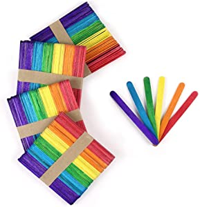 Wood Sticks, RIVERKING Colored Craft Sticks, Wooden Popsicle Sticks for Garden Markers, Classrooms, Home, Kids Projects and DIY Craft Creative Designs(100 pcs, 4.5 Inch)