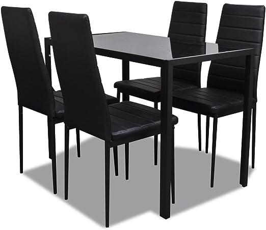 vidaXL Set Mesa Negra para El Comedor con 4 Sillas Diseño ...