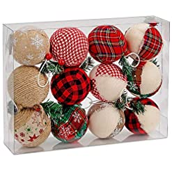 Christmas Farmhouse Home Decor BRUBAKER 12-Piece Natural Jute Christmas Ornaments – Baubles Ball Ornaments – Red & Green – 3.2 Inches