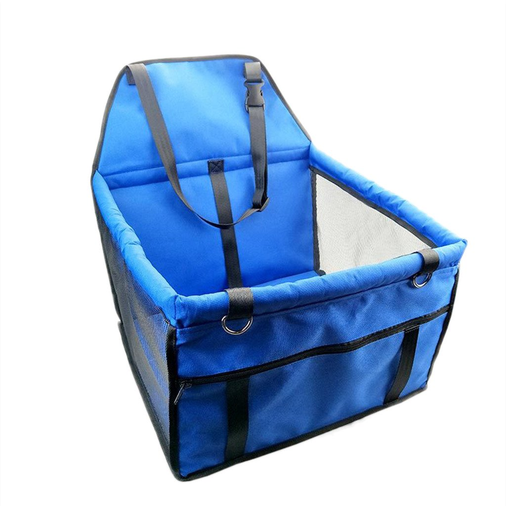 bluee Pet Collapsible Car Pet sleeping bag Dog Seats Pet Dog Car Booster Seat with Safety Leash bluee