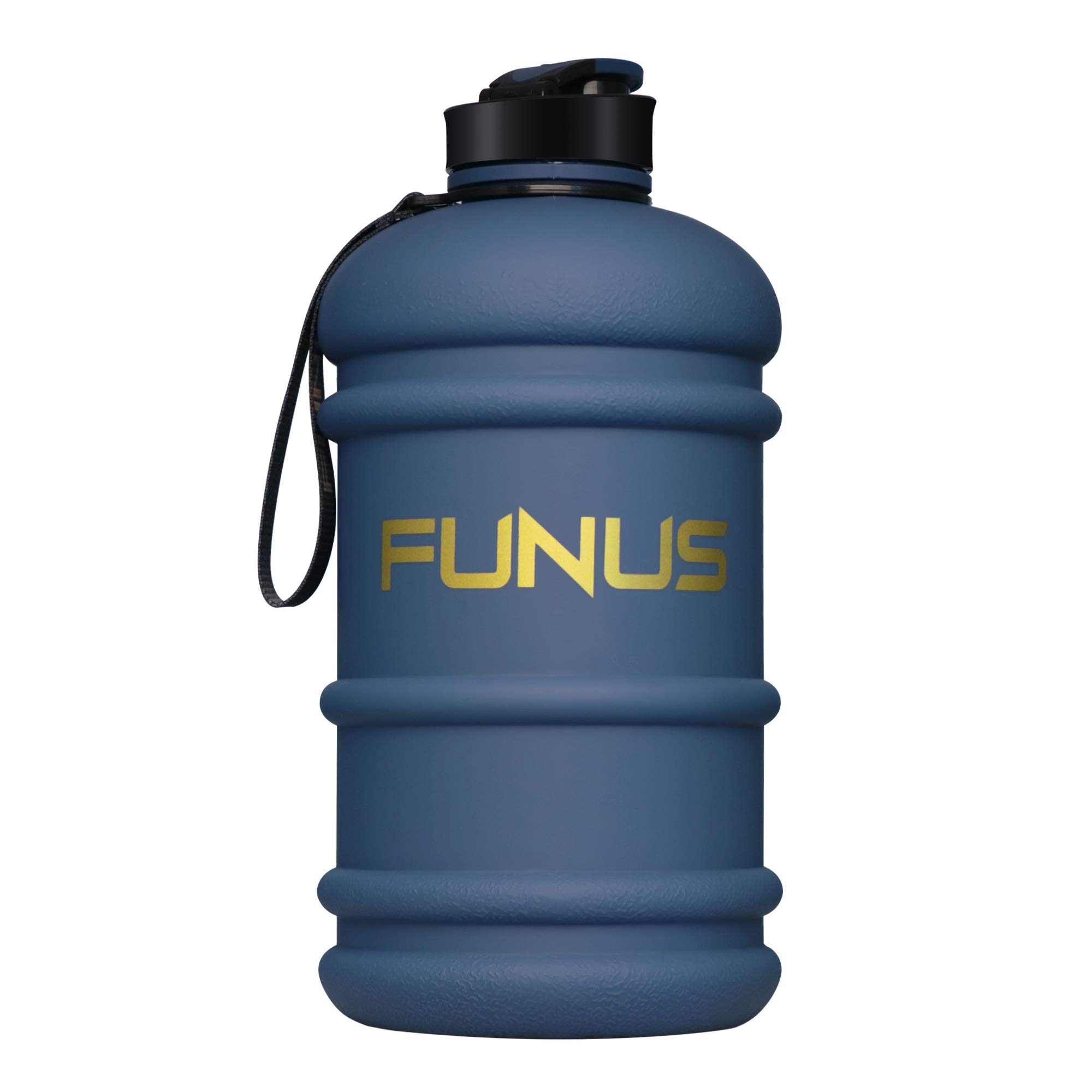FUNUS Big Water Bottle 1.3L-2.2L Odorless Water Jug BPA Free Leak Proof Reusable Big Capacity for Men Women Fitness Gym Outdoor Climbing (2.2L Navy Blue) by FUNUS