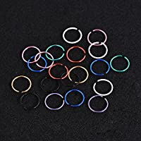 40Pcs Lip Labret Ring Hoop Earring Tragus Helix Body Piercing Cartilage Ear Stud Walking Street