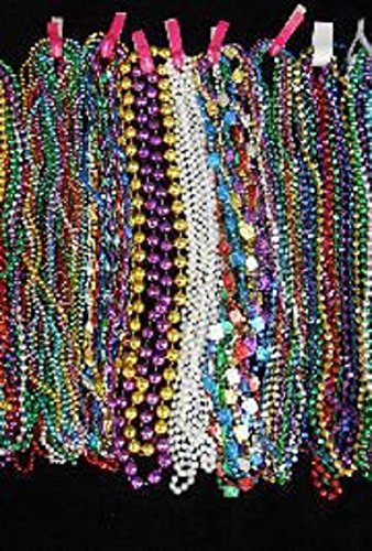 Mardi Gras, Long Assorted Colors and Styles Float Rider Super Mix Throw Beads, 48