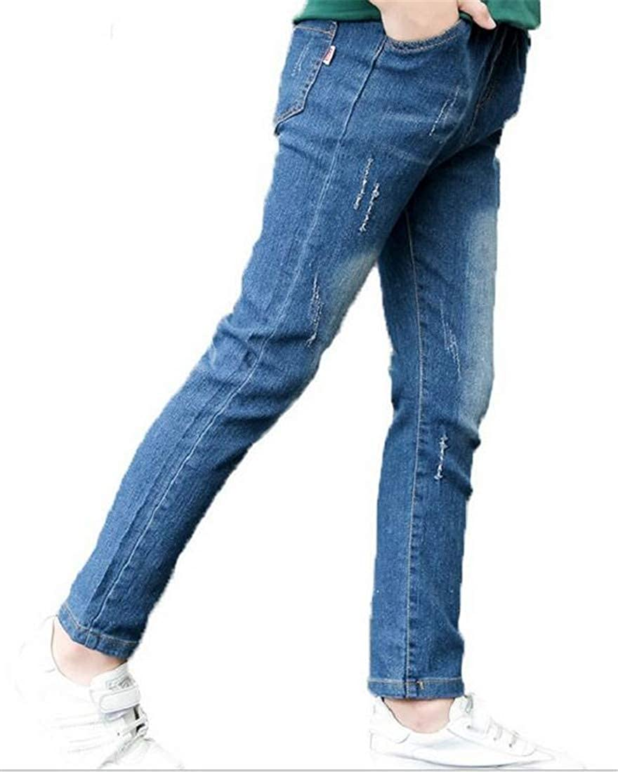Wofupowga Boys Stretchy Cute Casual Trousers Jeans Ripped Denim Pants