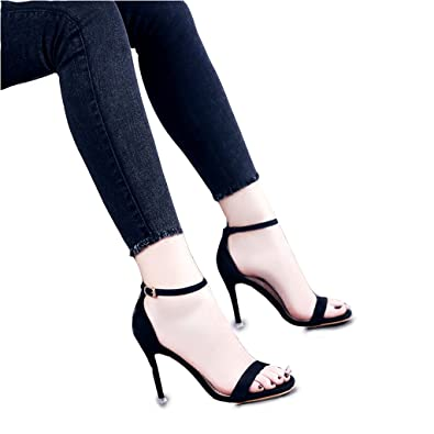Hyun Times Summer Black Fine With Cross Straps Toe High Heels