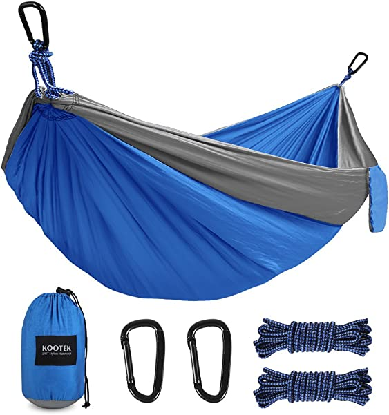 Kootek Camping Hammock Double & Single Portable Tree Hammocks with 2 Hanging Ropes, Lightweight Nylon Parachute Hammocks for Backpacking, Travel, Beach