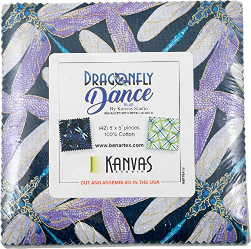 (Kanvas Studio Dragonfly Dance Blue 5X5 Pack 42 5-inch Squares Charm Pack Benartex, Assorted)