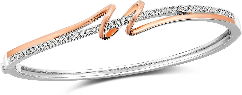 SNZM Rose Chapado en Oro Pulseras infinitas Pulseras sin Fin de brazaletes de Amor para Novias Mujeres Mamá Cristales de Swarovski Regalo de Boda Cumpleaños del día de la Madre Regalos