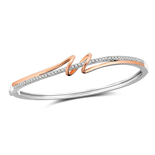 SNZM Bangle Bracelets for Women in Silver Rose Gold Jewelry Gifts for Women, for Valentine's Day