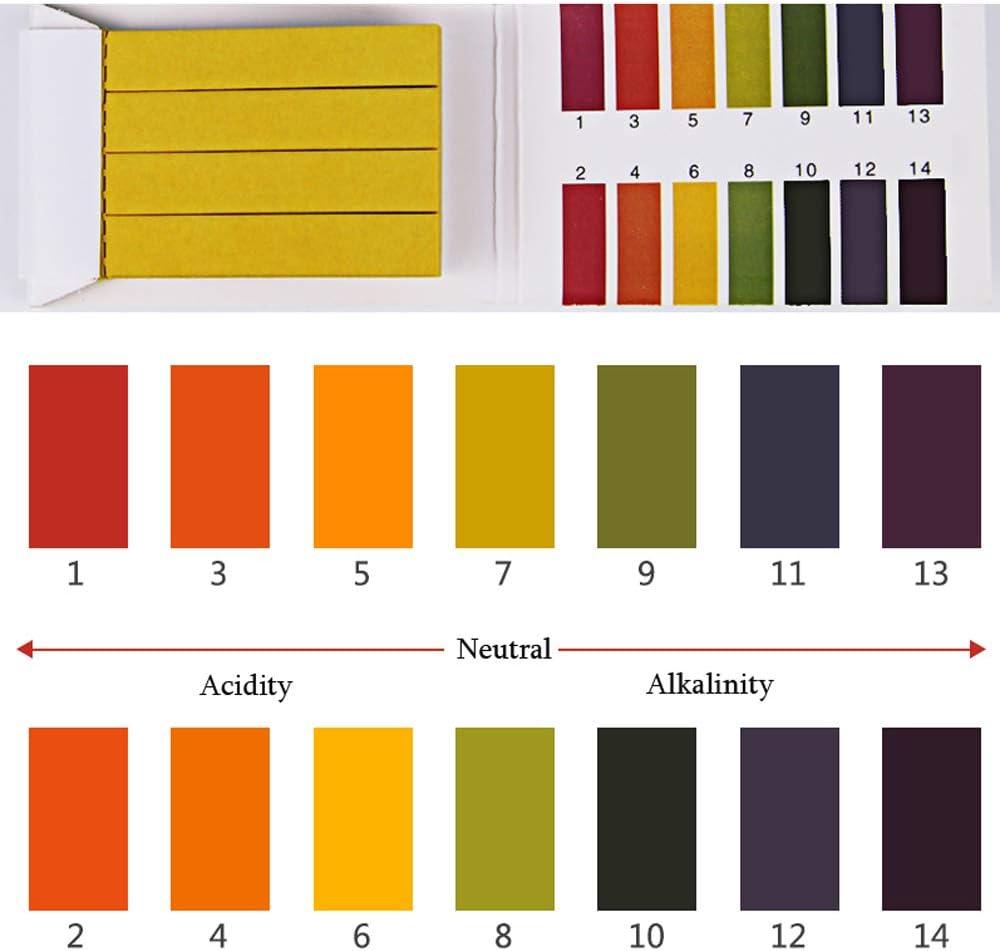 6Bags 480Pcs PH 1-14 Testpapier mit Farbkarte Mehrzweck-Wasser-Kosmetik-S/äure-alkalische Testpapier-Streifen f/ür die t/ägliche Pr/üfung der K/üchen-Garten-Produkte