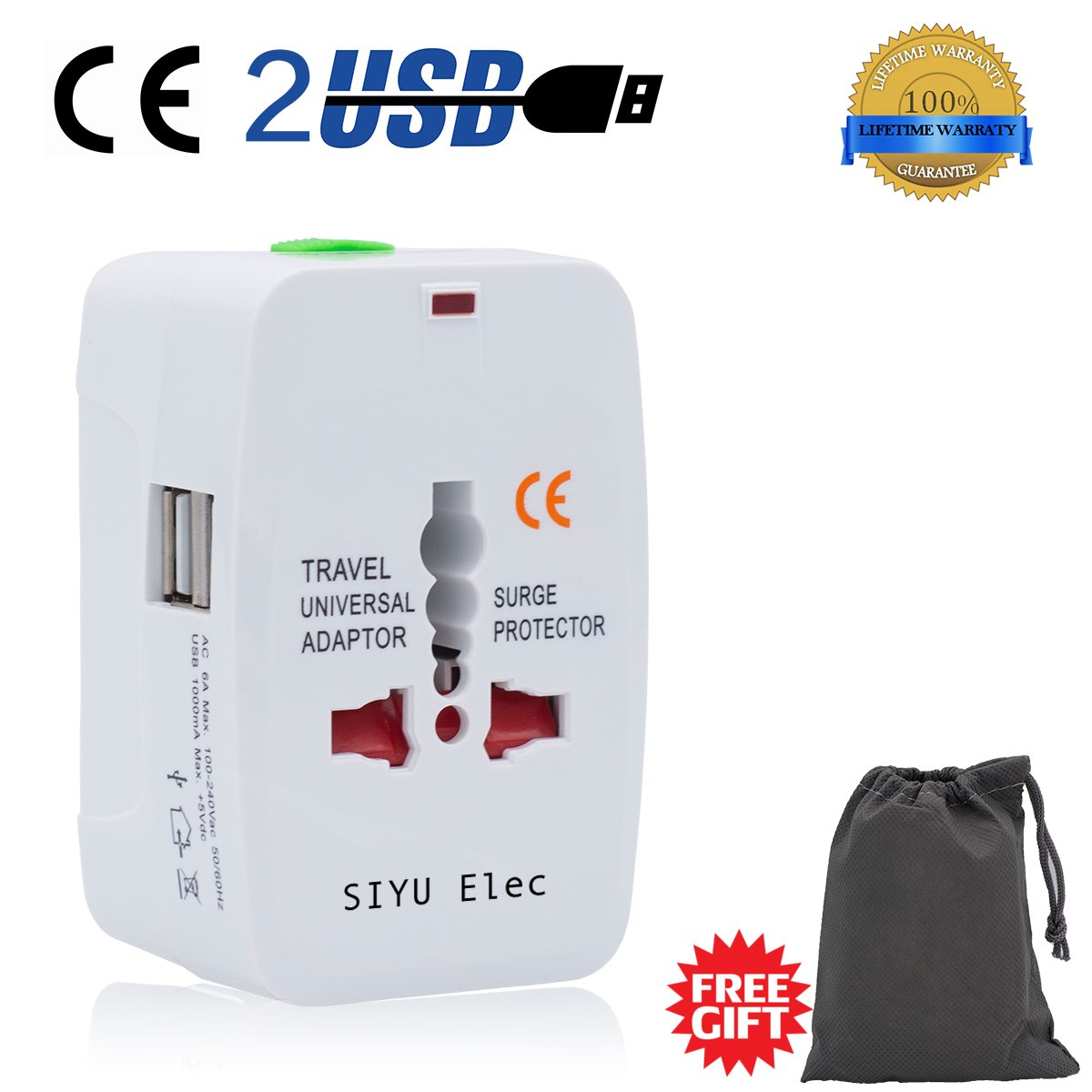 Travel Adapter, International Universal Power Converter Plug, All In One Outlet Charger US to Europe Argentina, Electrical Adaptor 220v with Dual USB for UK USA EU Australia South America Asia (white)