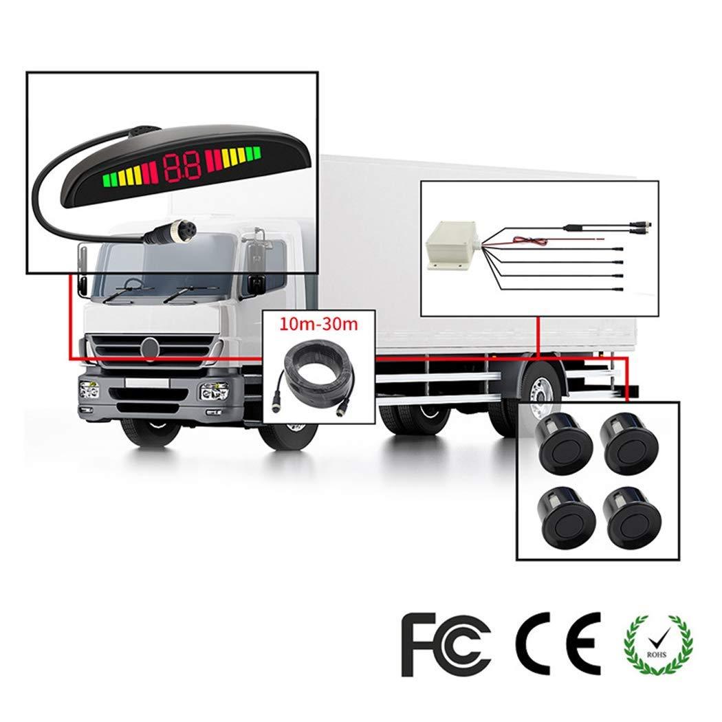 Z-DCYX Car Reversing Rear View Camera, Double CPU Security Reversing Parking Radar Sensor Car Vehicle with 4 Sensors Alarm Buzzer for Vans,Camping Cars,Trucks,RVs