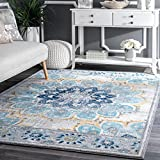 D&H 4'x6'ft Blue White Yellow Floral Multi Colored Mandala Patterned Area Rug. Indoor Flower Living Room Mat Rectangle Carpet, Large Flooring Wide, Plush Vintage Style Polypropylene Synthetic For Sale