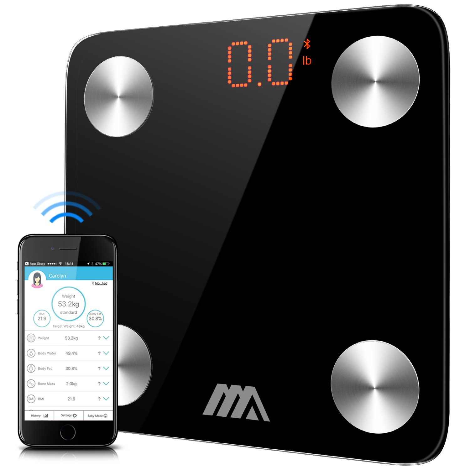 Bluetooth Body Fat Scale, ADORIC Digital Weight Scale Bathroom Scales Smart Bmi Scale Body Composition Scale with Free APP for Android & iOS