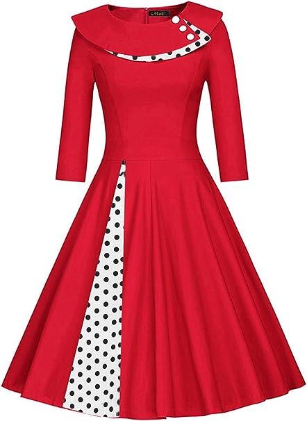 Damen 60er Jahre Vintage Kleid Abendkleid Pin Up Polka Dots Knielang Rot S